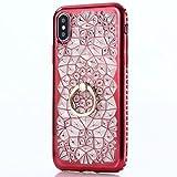 TAITOU iPhone 5S/Se Diamonds Flower Case, Shiny 360° Rotating Kickstand Movie Stand...