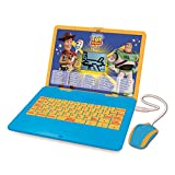 Lexibook JC595TSi1 Disney Toy Story 4 Woody Buzz-Ordinateur éducatif bilingue avec écran-apprentissage interactif, 120 activités mathématiques, musique, logique, jeux, Français/Anglais, Bleu/Jaune