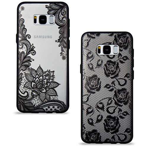 2 Stück Samsung Galaxy S8 Hülle, Handyhülle mit Vintage Cool Schwarz Mandala Spitze Design Durchsichtig Silikon Hülle Hart Backcover Weich Bumper Stoßdämpfend Schutzhülle für Samsung Galaxy S8 Cool Silikon