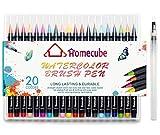 Watercolour Brush Pens, Homecube 20 Colours Brush Pens Set Marker Soft Flexible Tip