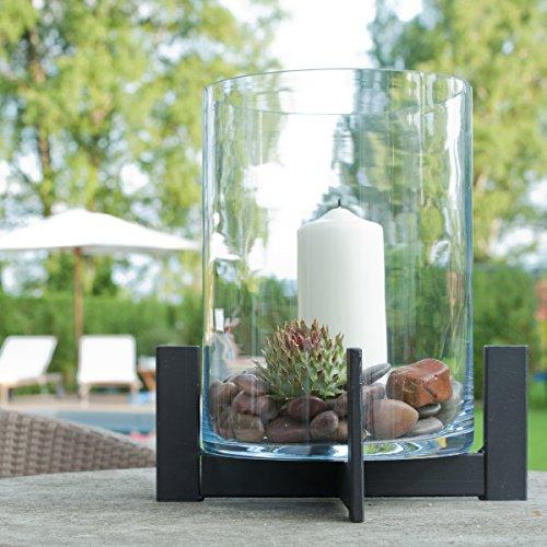 Varia Living Großes Windlicht/Laterne mit Glas aus Metall/Eisen für drinnen oder im Garten als Laterne wunderschön zum Dekorieren als Kerzenleuchter … (H 38 cm/Ø 34 cm)