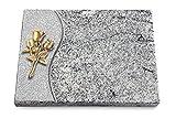 Generic Grabtafel, Grabplatte, Grabstein, Grabkissen, Urnengrabstein, Liegegrabstein Modell Wave 40 x 30 x 3-4 cm Viskont-White-Granit, Poliert inkl. Gravur (Bronze-Ornament Rose 11)