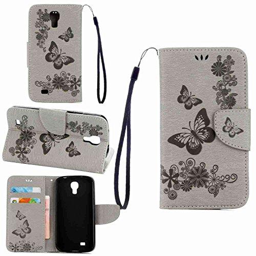 pinlu Funda para Samsung Galaxy S4 (i9500) 5.0pulgada Función de Plegado Flip Wallet Case Cover Carcasa Piel PU Billetera Soporte con Ranuras Mariposa Gris
