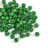 SiAura Material 200 Stück Holzperlen 9x10mm mit 3mm Loch, Rund, Grün zum Basteln