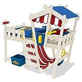 Wickey Kinderbett CrAzY Hutty Hochbett mit Dach Abenteuerbett mit Lattenboden, rot-blau + weiße Farbe