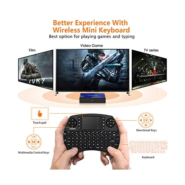 TICTID-TV-Box-Android-90-avec-Clavier-Touchpad4GB-DDR3-64GB-ROM-BT-40-Android-TV-Box-R8-Plus-RK3318-Quad-Core-64bit-Cortex-A53-Wi-FI-24G5G-LAN100M-USB-30-Box-Android-TV