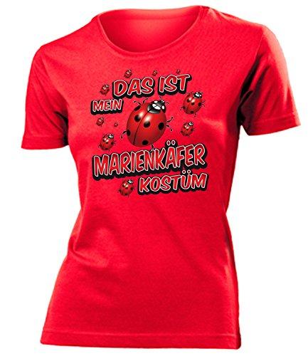 Marienkäfer Kostüm Kleidung 1585 Damen T-Shirt Frauen Karneval Fasching Faschingskostüm Karnevalskostüm Paarkostüm Gruppenkostüm Rot S