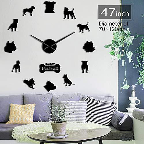 GUDOJK Pit Bull Große Wanduhr Hund Haus Braut Shirts Deocr Selbstklebende DIY 3D WanduhrSpiegeloberfläche Pit Bull Hund Liebhaber Geschenke 37inch -