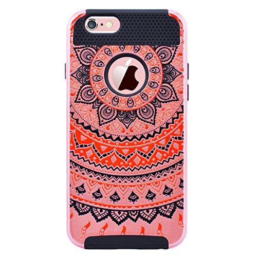 WE LOVE CASE Coque iPhone 6, Coque iPhone 6S Mandala de Protection en Hard Dur Coque iPhone 6S Fleur avec Motif Antichoc Bumper Mince, Ultra Original Officiel Fille Femme Coque Apple iPhone 6 iPhone 6 Noir