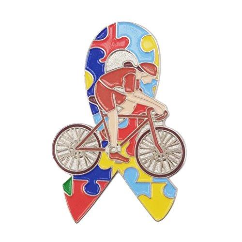 es Broschen zur Stärkung des öffentlichen Bewusstseins für Autismus Brosche Fahrrad Schleife Bunt Farbe Puzzle Schleifenbrosche Fahrer Abzeichen Schmuck (Farbe Für Autismus)