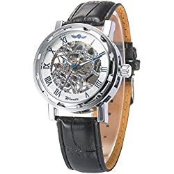 AMPM24 Hot Mechanical Analog Skeleton Blue Mens Sport Leather Wrist Watch Gift + AMPM24 Gift Box PMW028