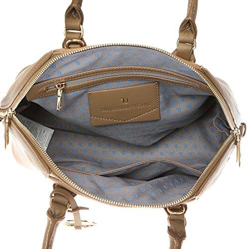 Trussardi Jeans Borsa a Mano da Donna con Tracolla in Eco Pelle con Dettagli in Stampa Saffiano �?32x25x15 Cm - Mod. 75B701SSM Fango