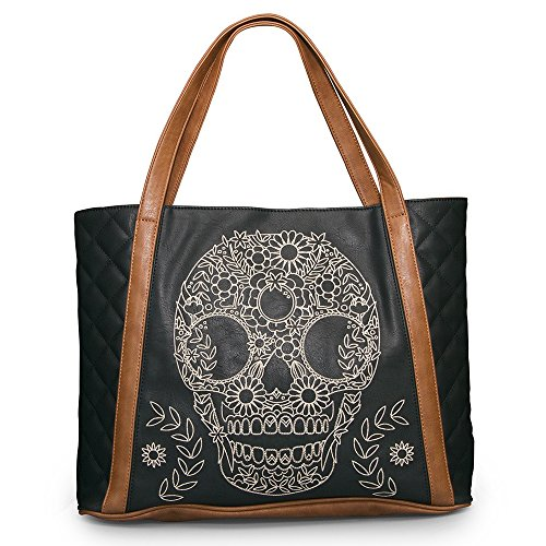 loun-gefly-stitch-calavera-mujer-mano-sugar-skull-shopper-bolso-bandolera-color-marron-negro