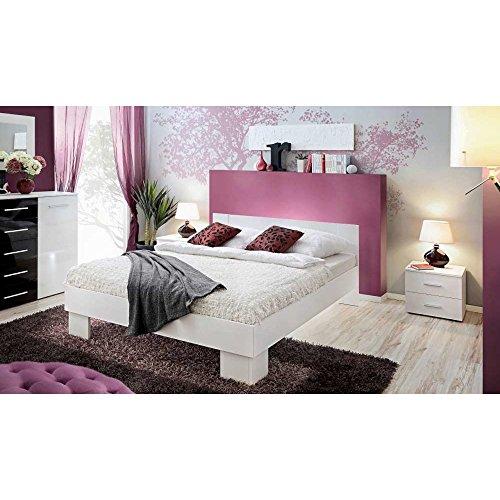 JUSThome VICKA 180 Cama doble de matrimonio de madera maciza Tamaño: 40-80x184x204 cm Blanco Mat
