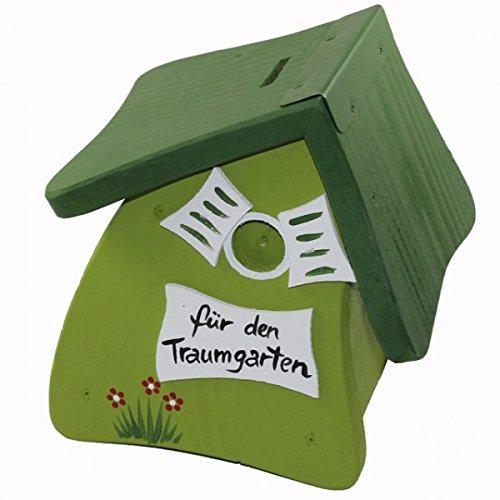 Vogelvilla Hausbank Spardose Vogelhaus Spardose Holz grün grau rot weiss Sparschwein NEU, Farbe:Grün
