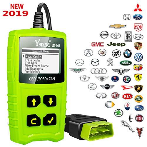 Ysding OBD2 Diagnostiqueur automatique Lecteur de codes anormales OBDII Lecteur universel de diagnostics OBD pour véhicule permettant de lire et d'effacer le code d'erreur du moteur