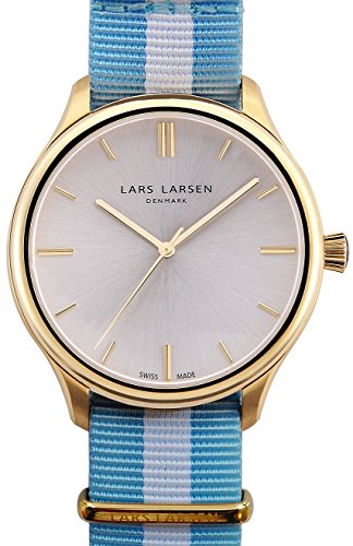 Lars Larsen Philip Men's Quartz Watch with Silver Dial Analogue Display and Multicolour Fabric Strap 120GBCN