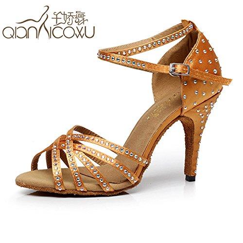 DGSA Fashion Dance Schuhe oder Sandalen Frau Diamond Latin Dance Shoe nach Bekanntschaft mit Tanz Schuh Frühling und Sommer Tanz high-heel Purpur mit Höhe 10 cm