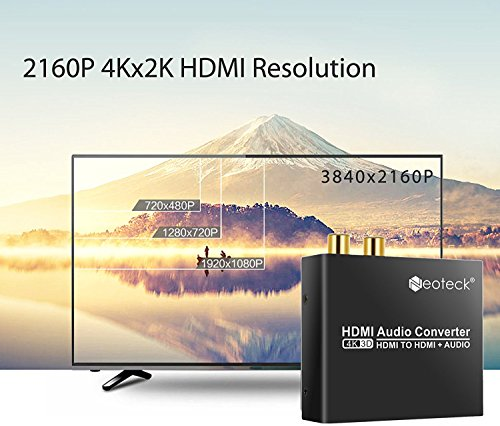 Neoteck 4K HDMI Audio Konverter 2160P HDMI zu HDMI SPDIF/Toslink RCA L/R Audio Konverter Adapter für Blu-ray DVD Player Xbox One SKY HD box PS3 PS4 - 4