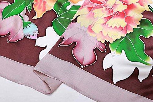 Helan femmes Réel Soie Naturelle 110 X 110 cm foulards carrés Coffee Green Floral