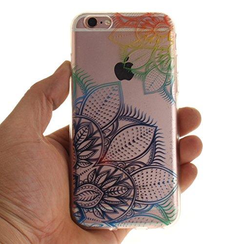 Custodia per iPhone 6S 6,SKYXD Lusso Luminosa Brillante Strass Creativo Disegni Rainbow Cover Trasparente Silicone Antiurto Case per Apple iPhone 6/6S Case Custodia per iPhone 6 iPhone 6S Glitter Moda Retro Colorato Fiore