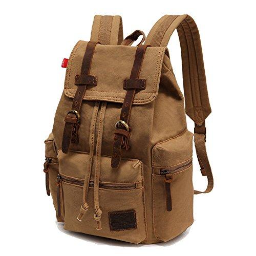 NIUEIMEE-1039Canvas-Rucksack, Rucksack, Vintage-Stil, Rucksack, für Schule Wandern Reisen, mit Doppeltem schulterriemen, Rucksack Khaki