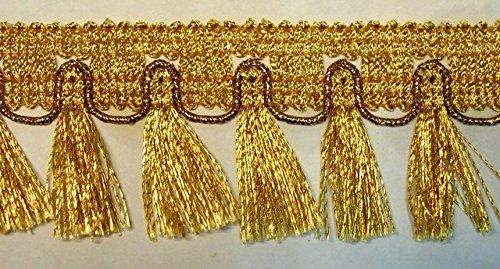 16,40m Fransen-Borte 4,5cm breit Farbe: helles Lurex-Gold TSL-782-go