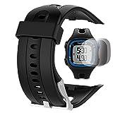 Garmin Forerunner 10 15 Banda Pantalla grande 2,5 cm) con protector de pantalla, TUSITA reemplazo de silicona suave pulsera brazalete deportivo WristBand accesorio para Garmin Watch (NEGRO)