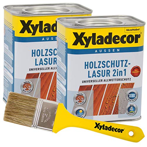 Xyladecor 2in1 Holzschutzlasur teak 1,5 l inkl. Xyladecor Pinsel