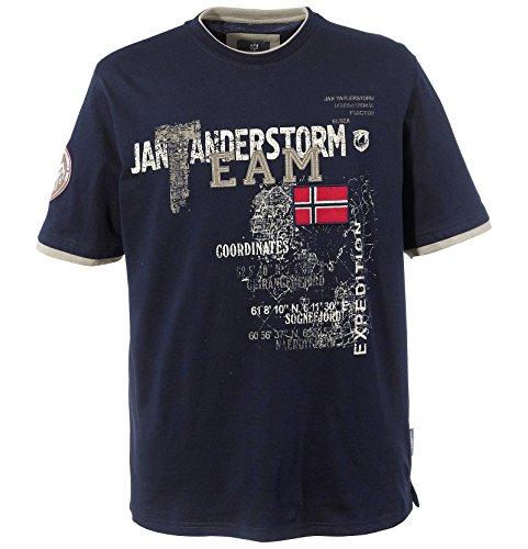 Jan Vanderstorm Herren Kurzarm T-Shirt Sölve dunkelblau 3XL (XXXL) - 64/66