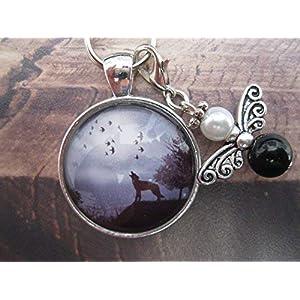 Handmade Schlüsselanhänger, Taschenanhänger Wolf, mit Schutzengel