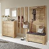 Garderobenmöbel Set, Eiche Navarra mit Touchwood, Schuhschrank, Spiegel, 3x Garderobenpaneel, Schuhbank inkl. Polster