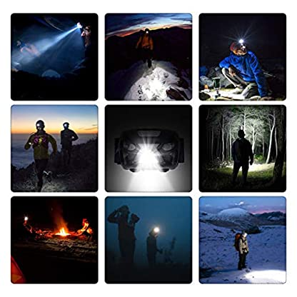 Head Torch,OUTERDO Sensor Headlamp (210LM 6 MODES) Head Lights LED USB Rechargeable with Super Bright White Light & Warn Red Light for Reading, Working, Camping, Walking, Waterproof Gesture sensing 8