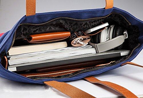 YAAGLE Freizeit Schultertasche Frühlingsfest Sommer einfach Canvas Segeltuch schick Handtasche wasserdicht Hit Farbe Laptoptasche-blue(vertical) blue(horizontal)
