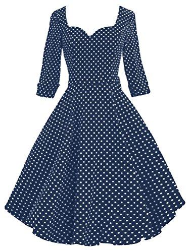 SMITHROAD Damenkleid Audrey Hepburn 50s Retro Bubble Skirt Rockabilly Swing Party Ballkleid gepunktet tailliert Halbarm Nr.V077 Gr. 36 bis 46 Blau