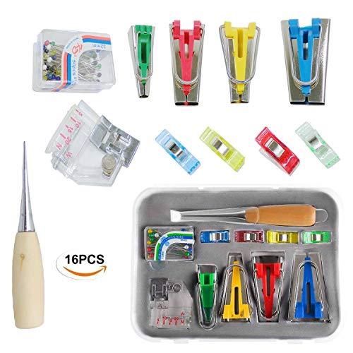Schrägbandformer Set,Mengger Schrägband Werkzeug 6-12-18-25 mm Tape Bias Maker mit Ahle,verstellbar Nähfuß,Stecknadel,Stoffklammer Verstellbar Stecknadel Nähen Zubehören für Kurzwaren Schrägbandformer