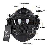 OneTigris PJ Máscara táctica de casco rápido ABS con gafas para paintball Softair., negro