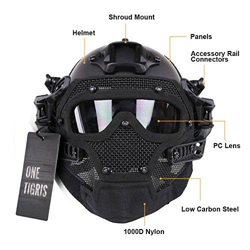 OneTigris PJ taktische Schnell Helm ABS Maske mit Brillen für Paintball Softair (Schwarz)