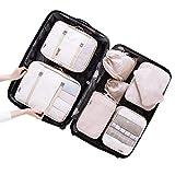 Belsmi Reise Kleidertaschen Set 8-teilig Reisetasche in Koffer Reisegepäck Organizer Kompression Taschen Kofferorganizer Mit Schuhbeutel (Beige)