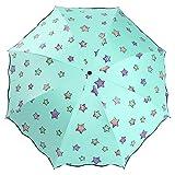 Ai-life Farbwechsel Regenschirm, Regenschirm Sky Stern Schirm Taschenschirm, Faltbar Kompakt Vinyl Sonnenschirm UV-Schutz Winddicht Regenschirm, die Farbe Wechseln bei Nässe Windfest, Kompakte Design, 8 Verstärkten Rippen, in Sterne-Form
