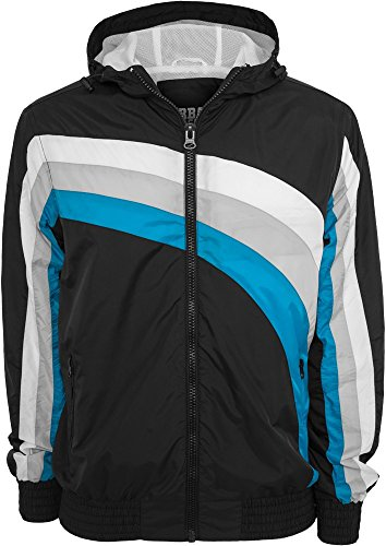 Urban Classics Racing Windbreaker Nero/Grigio/Turchese