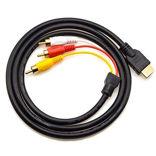 Adaman HDMI auf Cinch Kabel 1,5 m HDMI Male to 3RCA Video Audio AV Component Konverter Adapter Kabel für HDTV PC DVD und die Meisten LCD-Projektoren (Nicht für PS4) (Schwarz) - Kabel Component Video Kabel
