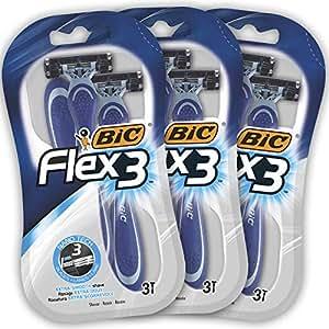 BIC Flex3 Rasoi da Uomo Monouso - Confezione da 3 Pacchi da 3