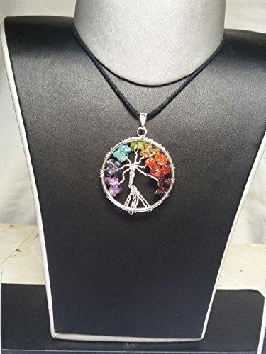 Cmidy Árbol de Vida Colgante para Collar Amuleto Crystal Cuarzo DIY 7Chakra Gemstone Colgantes para Familia Mejores Amigos