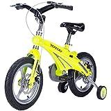 Kinder-Fahrrad, 3-9 Jahre alt Junge Mädchen Baby Baby Wagen Fahrrad 12/14/16 Zoll Zwei-Scheiben-Bremsen ( Farbe : Gelb , größe : 14 inch )