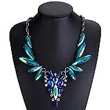 FGTYJ Suéter Cadena Exagerada Collares Abanico De Cristal, Accesorios De Suéter De La Mujer Regalos, Verde Y Azul