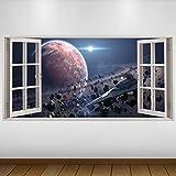 LagunaProject Extra Grande Planeta Rojo destructores de Star Wars Fantasy Vinilo 3D Póster - Mural Decoración - Etiqueta de la Pared -140cm x 70cm