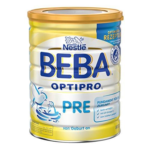 Nestlé Beba Optipro Pre Anfangsmilch, 6x800 g, Babymilch mit langkettigen mehrfach ungesättigten Omega-3 Fettsäuren, Säuglingsnahrung von Geburt an, Dose