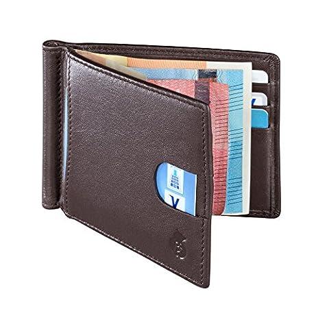 Echtleder Portemonnaie mit Geldklammer für Herren. Geldbörse mit RFID-Blocker (Braun)