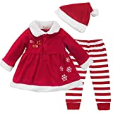 Tiaobug Baby Mädchen Weihnachtskostüm - Weihnachten Kleidung im Set Warm Langarm Weihnachten Kleid Hose mit Weihnachtsmütze Rot 74-80 (Herstellergröße: 80)